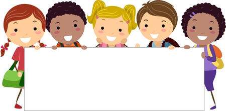 multiracial: Illustration of Kids Holding a Blank Banner Stock Photo