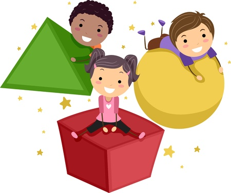 different shapes: Illustrazione di bambini giocare con oggetti di forme diverse