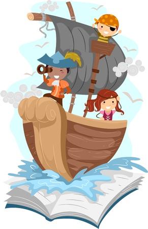 barco pirata: Ilustración de un Ascenso Pop con un tema de pirata Foto de archivo