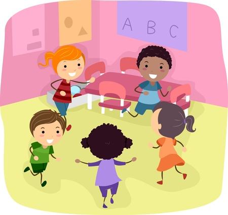 playmates: Ilustraci�n de ni�os jugando en un sal�n de clases