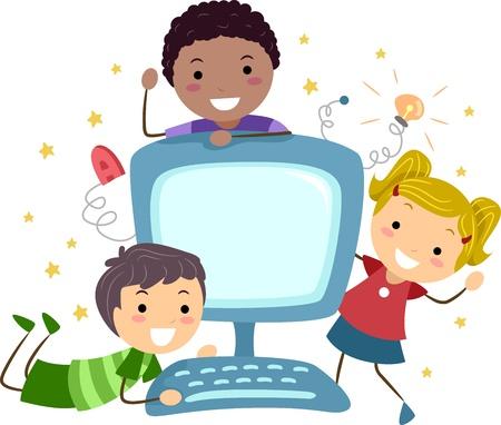 learning computer: Illustrazione di ragazzi in posa con un Computer Archivio Fotografico