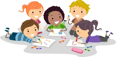 preschool child: Illustration of Kids Drawing with Crayons