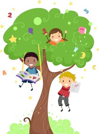 niños estudiando: Ilustración de niños jugando con un árbol