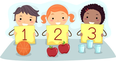 Illustration of Kids Holding Flash Cards with Numbers illustration