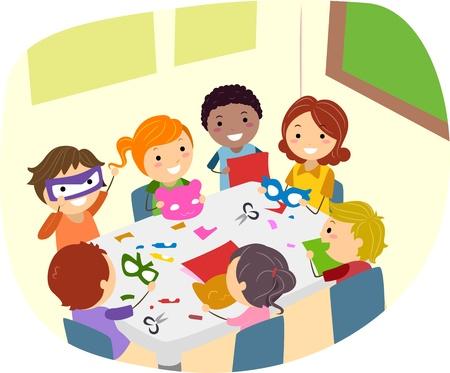 leccion: Ilustración de niños haciendo artesanías de papel