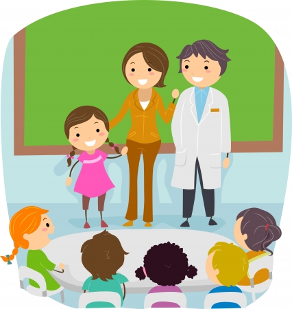 Illustration of a Kid Presenting Her Parents illustration