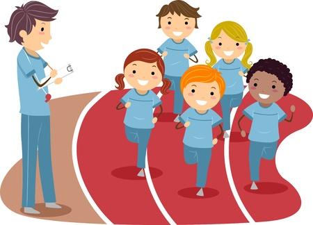 enfant qui court: Illustration des enfants qui courent autour d'une piste de course Banque d'images