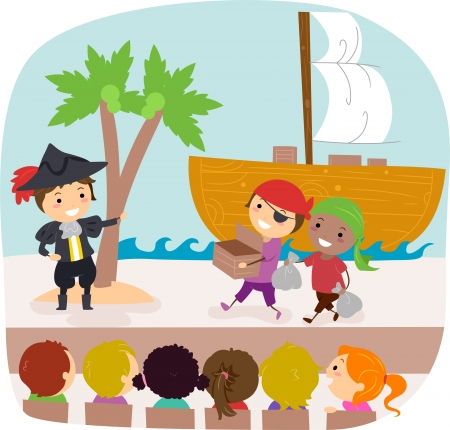 Illustration of Kids Performing in a Play Stock Illustration - 10132551