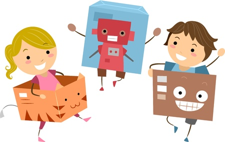 playmates: Illustration of Kids Playing with Boxes