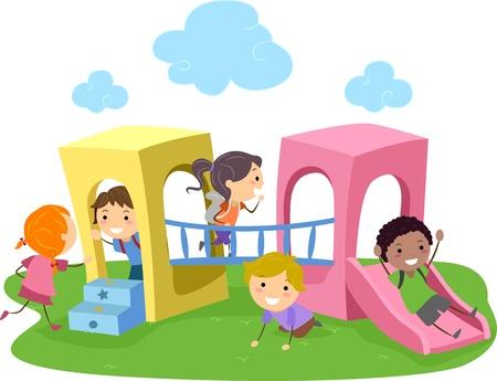 niños en area de juegos: Ilustración de niños jugando en un parque infantil