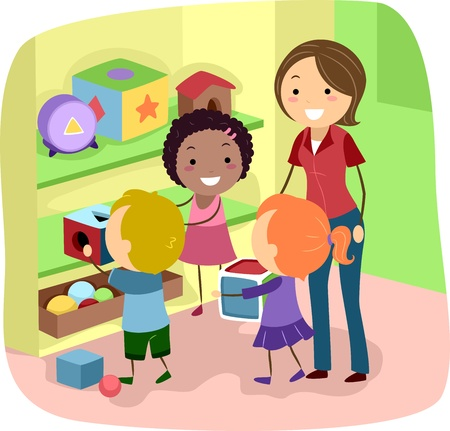 multiethnic: Illustration of Preschool Kids organizing their toys