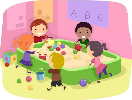 niños jugando caricatura: Ilustración de niños jugando con un cuadro de arena