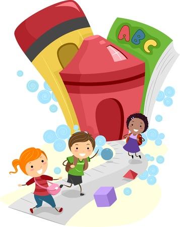 children school clip art: Illustration of Kids Going to School