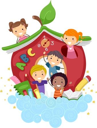 preescolar: Ilustraci�n de ni�os jugando en una escuela en forma de Apple Foto de archivo