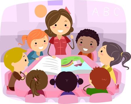 maestra preescolar: Ilustración de escuchar una historia de niños Foto de archivo
