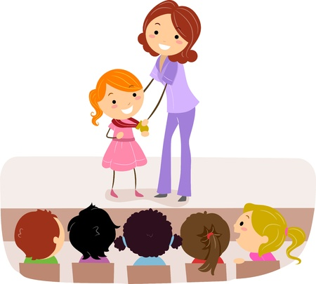 acceptance: Illustration of a Kid Accepting Her Medal