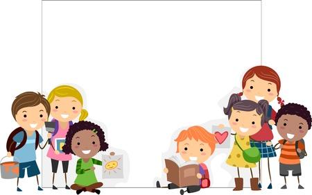 escuela caricatura: Ilustración de presentar sus obras de arte de niños