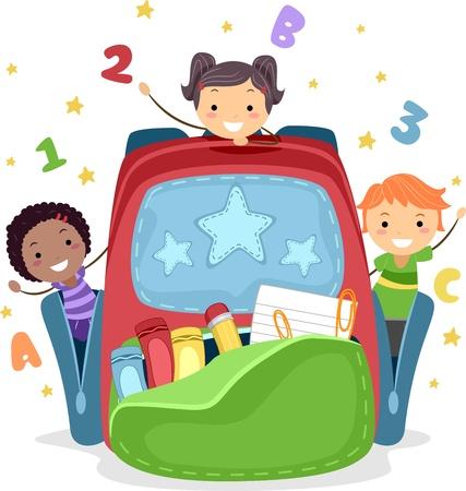 niños jugando en la escuela: Ilustración de niños jugando en una bolsa gigante