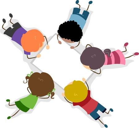 Ilustración de los niños en una hoja de papel en blanco