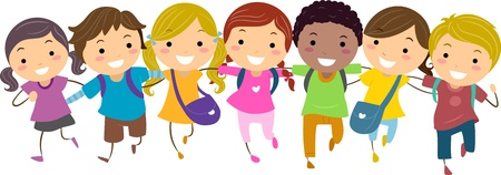 multiethnic: Illustration of Kids Walking Together