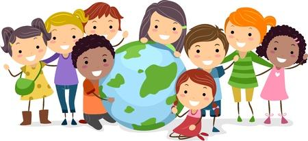 multicultureel: Illustratie van een Globe omringende Kids