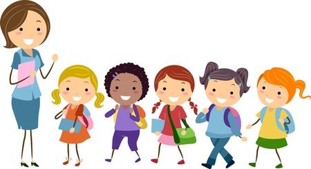 maestra preescolar: Ilustración de estudiantes de una escuela exclusiva para chicas