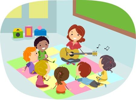 leccion: Ilustración de niños escuchando a su profesor de guitarra
