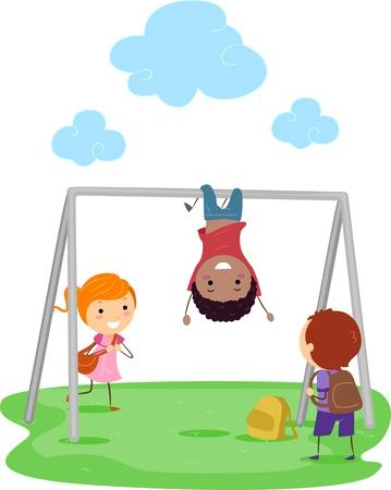 playmates: Ilustración de niños jugando con una barra de mono