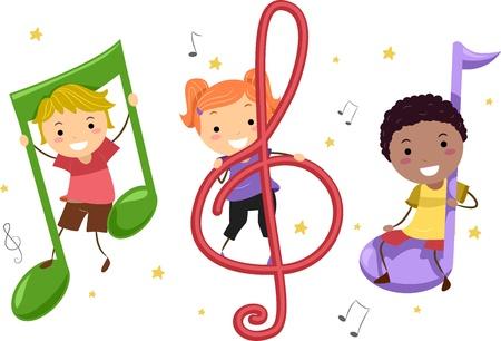 musical notes: Ilustración de niños jugando con notas musicales Foto de archivo