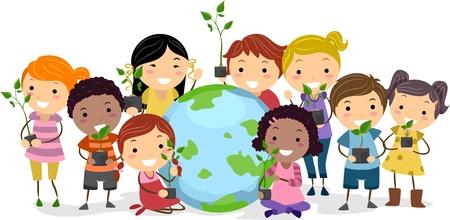 multicultureel: Illustratie van kinderen vertegenwoordigen verschillende etnische achtergronden