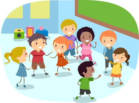 stick children: Illustration of Kids Playing in the Classroom