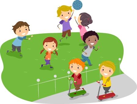 niños jugando en el parque: Ilustración de niños jugando en un parque