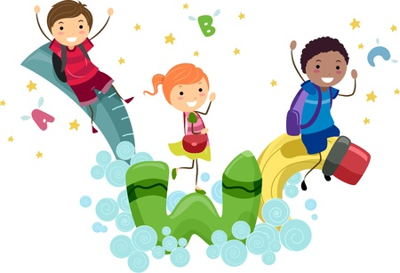playtime: Illustration of Kids Playing with Animated School Supplies Stock Photo