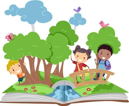 Illustration eines Pop Up Book mit Forest Theme