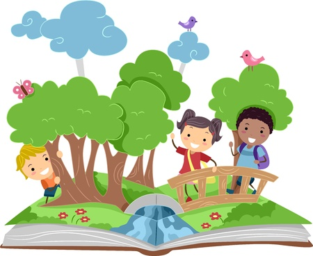 cartoon school girl: Illustration of a Pop Up Book with a Forest Theme