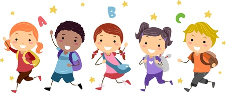 kids abc: Illustration of Kids Running Stock Photo