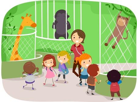 illustration zoo: Illustrazione di ragazzi osservando gli animali in uno Zoo Archivio Fotografico