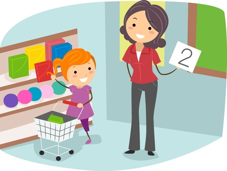 preschool classroom: Illustration of a Kid Doing a Counting Exercise Stock Photo