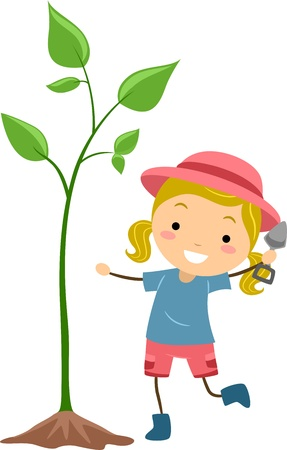 Illustration of a Kid Cultivating a Plant
