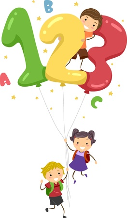 learning materials: Illustration of Kids Playing with Number-Shaped Balloons