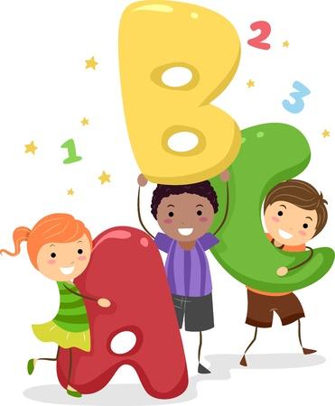 cartoon school: Illustration von Kids Halten riesigen Buchstaben