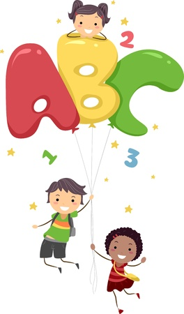 english girl: Illustration of Kids Playing with Letter-Shaped Balloons Stock Photo