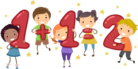 arithmetic: Illustration of Kids Holding Number-Shaped Objects