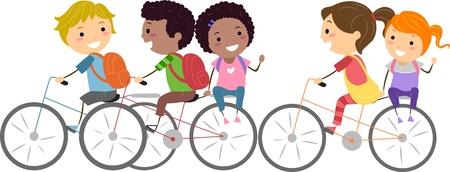 ni�os en bicicleta: Ilustraci�n de ni�os en bicicleta a la escuela Foto de archivo
