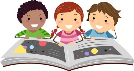 libro caricatura: Ilustración de niños leyendo un libro de ciencia