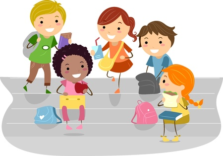 Illustration of Kids Enjoying their Recess illustration