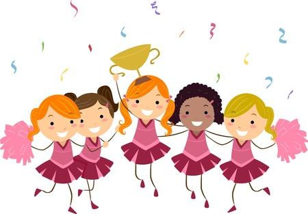 grand kids: Illustration of Cheerleaders Showing Their Trophy