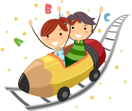 Illustration of Kids Riding on a Pencil Ride Stock Illustration - 10192143