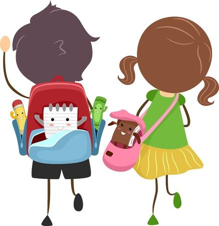 Ilustración de escuela bolsas con elementos animados Foto de archivo