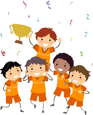 Illustration of Kids Showing Their Trophy illustration